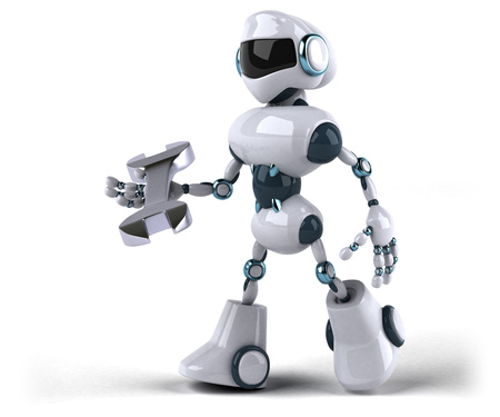 Robot with spanner in hands Stock Photo