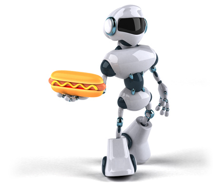 Robot with hot dog