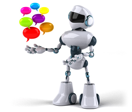 Robot with bubbles of conversations