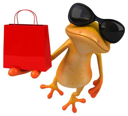 Fun yellow frog - 3D Illustration Stock Photo