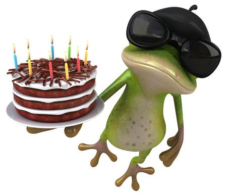 Fun french frog - 3D Illustration Zdjęcie Seryjne - 116100175