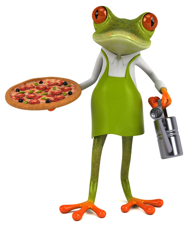 Fun frog gardener - 3D Illustration Stock Illustration - 116304584