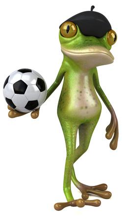 Fun french frog - 3D Illustration Foto de archivo - 116252232