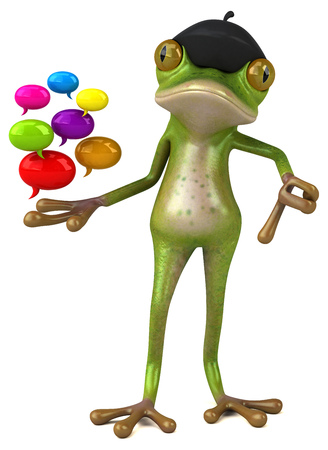 Fun french frog - 3D Illustration Stok Fotoğraf - 116252326