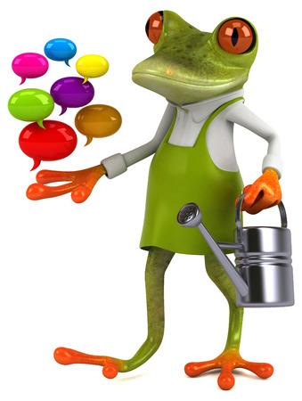 Fun frog gardener - 3D Illustration Imagens