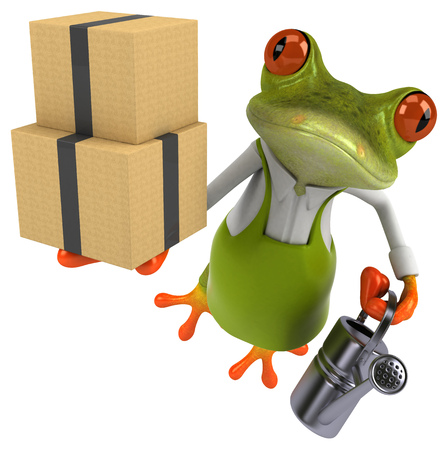 Fun frog gardener - 3D Illustration Stok Fotoğraf - 117386287