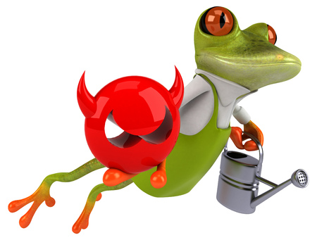 Fun frog gardener - 3D Illustration Stok Fotoğraf