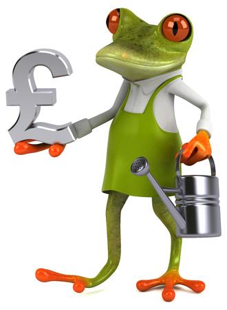 Fun frog gardener - 3D Illustration