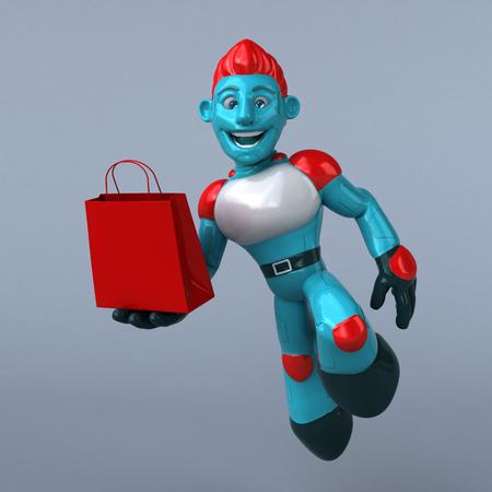 Red Robot - 3D Illustration Stock Illustration - 118894486