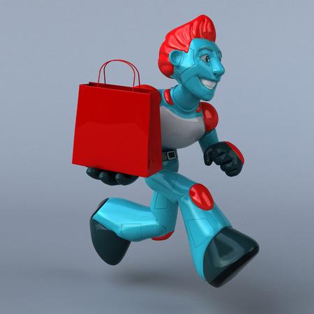 Red Robot - 3D Illustration Stock Photo