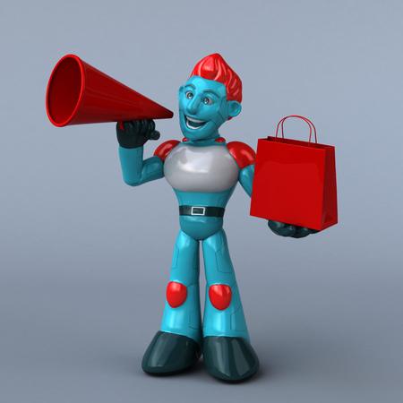 Red Robot - 3D Illustration Stock Illustration - 121353016