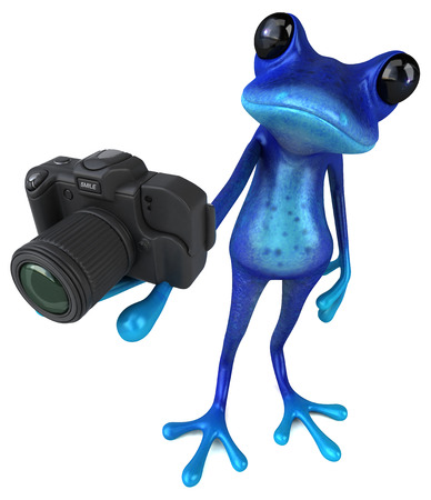 Fun blue frog - 3D Illustration