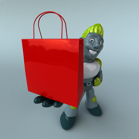 Green Robot - 3D Illustration Stock Illustration - 121273974