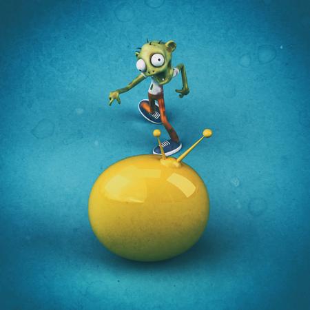 Zombie and media - 3D Illustration Reklamní fotografie