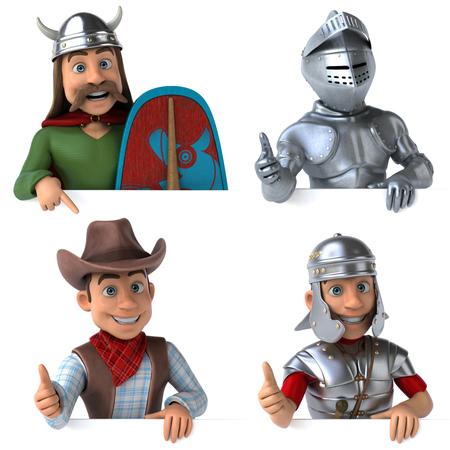 Historic iconic figures - 3D Illustration