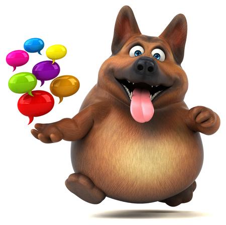 Fun german shepherd dog - 3D Illustration Reklamní fotografie