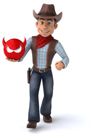 Fun Cowboy - 3D Illustration Reklamní fotografie