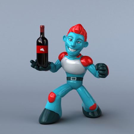 Red Robot - 3D Illustration Stock Photo