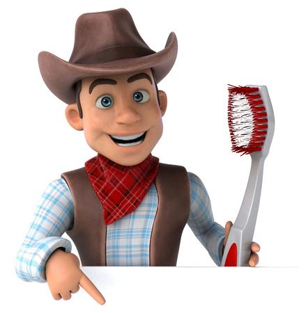 Fun Cowboy - 3D Illustration Banco de Imagens