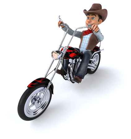 Cowboy on a chopper motorcycle