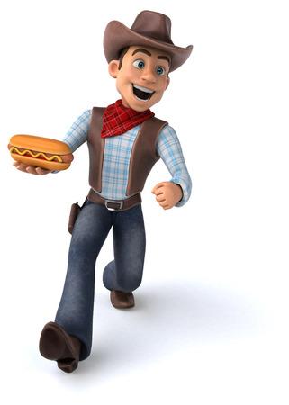 Cowboy holding a hotdog