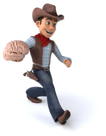 Cowboy holding a brain