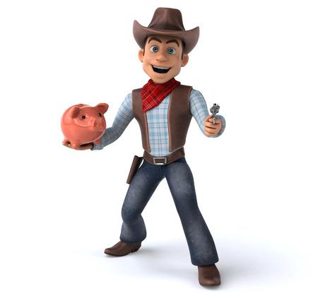 Cowboy with piggy bank and gun