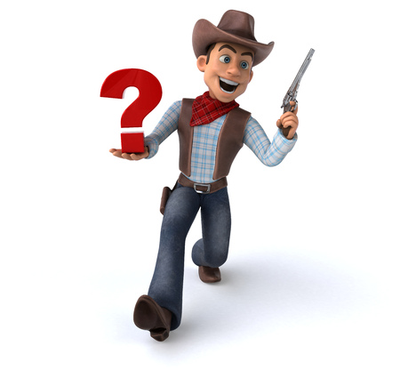 Cowboy with a gun and question mark