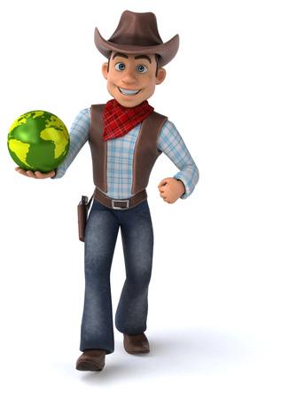 Cowboy holding a globe