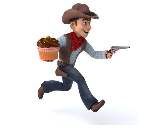 Cowboy running with a gun and cupcake