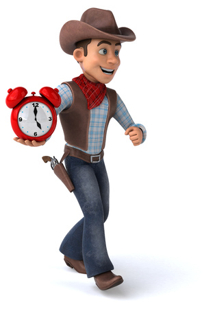 Cowboy holding an alarm clock