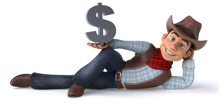 Cowboy posing with a dollar sign