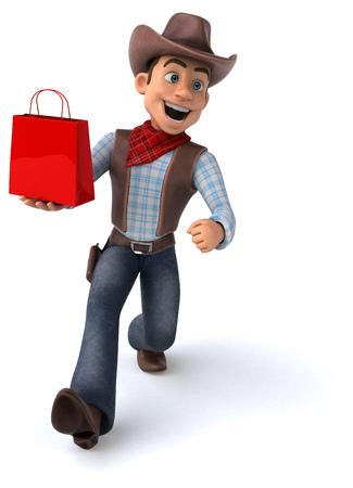 Cowboy holding a shopping bag
