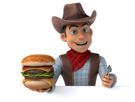 Cowboy holding a burger and gun