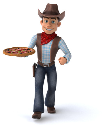 Cowboy holding a pizza
