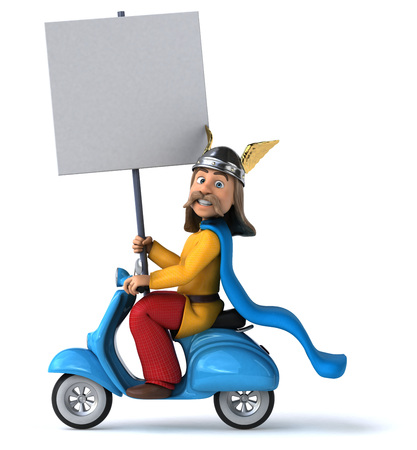 Gaul riding a scooter while holding a blank signboard Reklamní fotografie