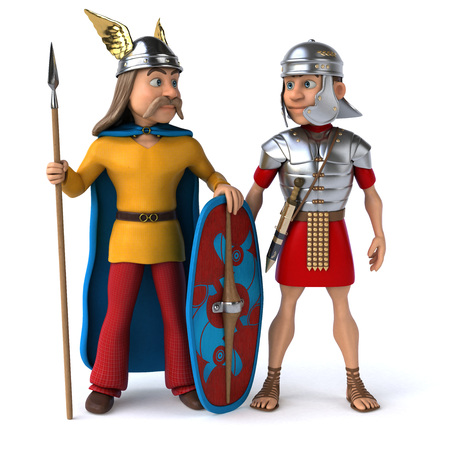 Roman and Gaul - 3D Illustration