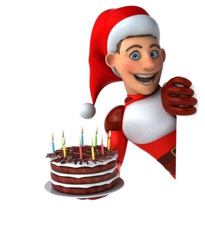 Fun Super Santa Claus - 3D Illustration Reklamní fotografie - 124648151
