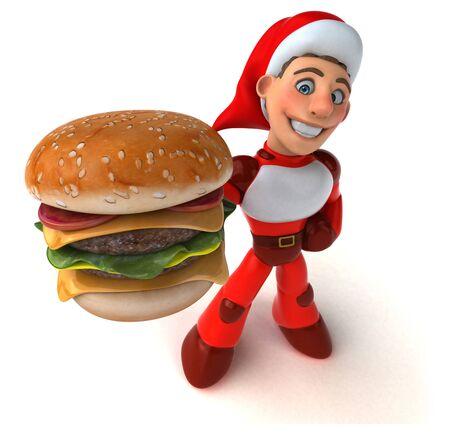 Fun Super Santa Claus - 3D Illustration Reklamní fotografie - 124648206