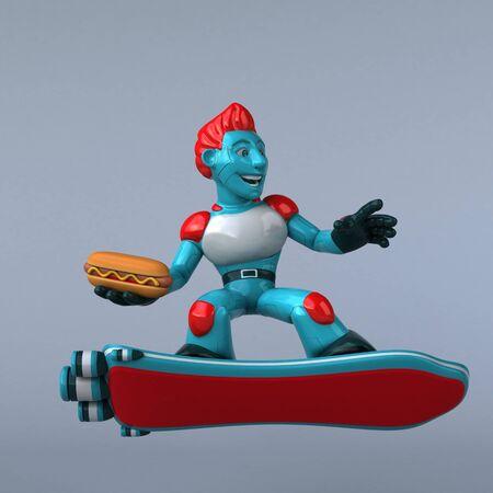 Red Robot - 3D Illustration Reklamní fotografie - 124648298