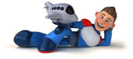 Super modern superhero - 3D Illustration Reklamní fotografie - 124648312