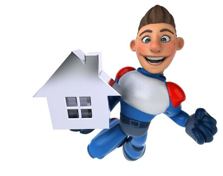 Super modern superhero - 3D Illustration Reklamní fotografie - 124648410