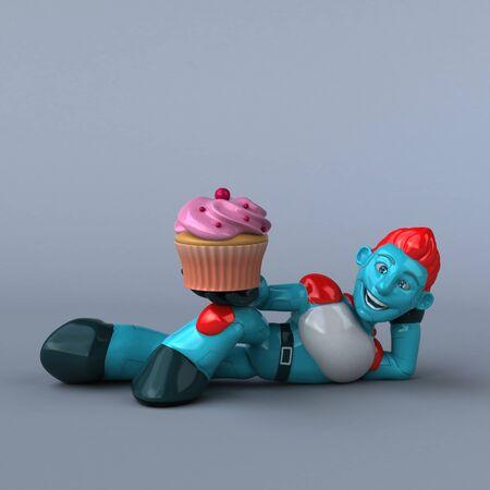 Red Robot - 3D Illustration Reklamní fotografie - 124648430
