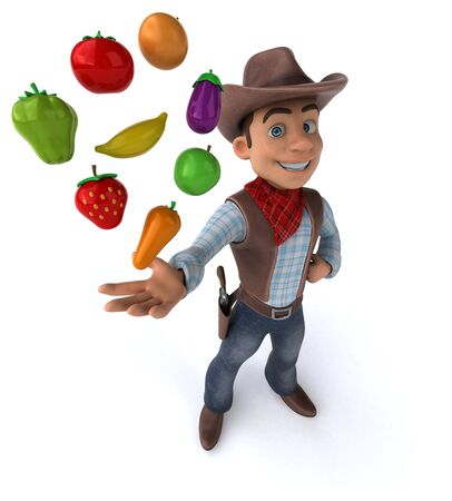 Fun Cowboy - 3D Illustration Stok Fotoğraf