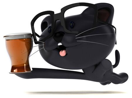 Fun cat - 3D Illustration Stock Photo