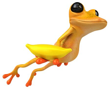 Fun yellow frog - 3D Illustration Stok Fotoğraf