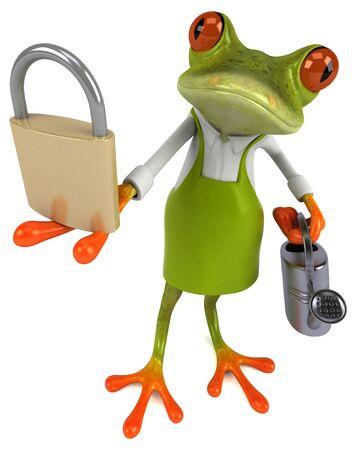 Fun frog gardener - 3D Illustration Фото со стока