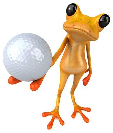 Fun yellow frog - 3D Illustration Фото со стока