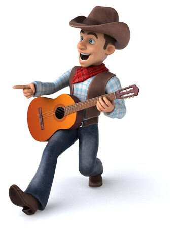 Fun Cowboy - 3D Illustration Stock Photo