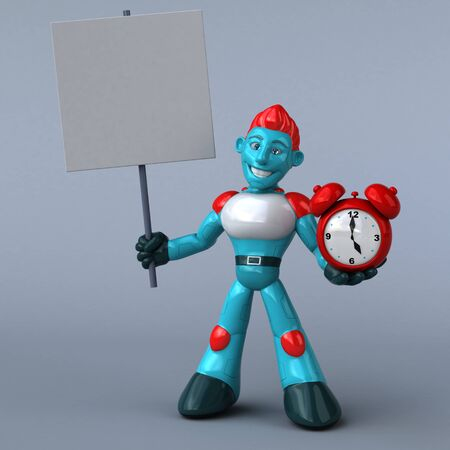 Red Robot - 3D Illustration Stock Illustration - 125071168